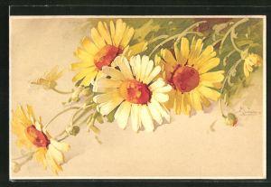 Künstler-AK Catharina Klein: gelbe Blumen mit Knospen