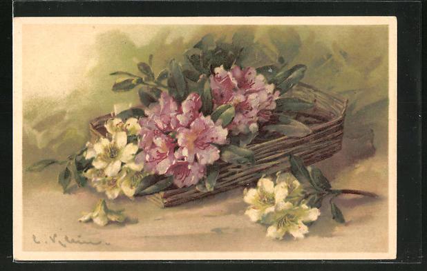 Künstler-AK Catharina Klein: lila & weisse Blumen in einem Korb