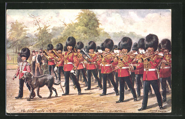 Künstler-AK Harry Payne: The Irish Guards with thei regimental pet Brian Born marching to the Park