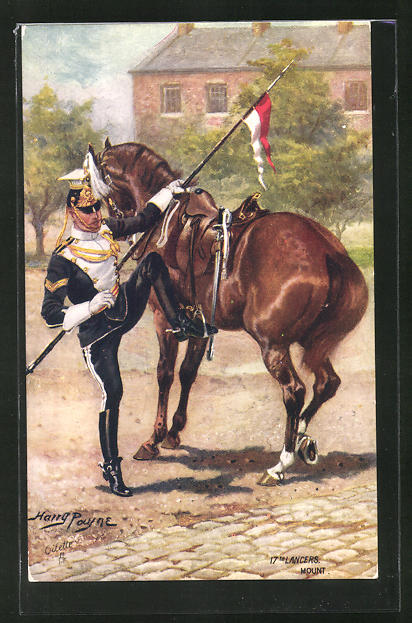 Künstler-AK Harry Payne: Soldat beim Besteigen eines Pferdes