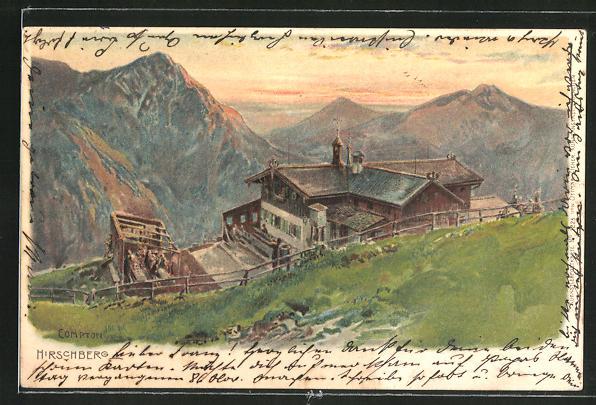 Künstler-AK Edward Theodore Compton: Hirschberg, Abendstimmung an einer Berghütte