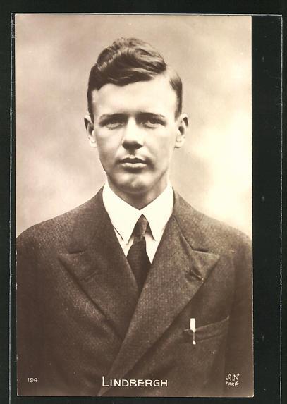 AK Ozeanflieger Charles Lindbergh