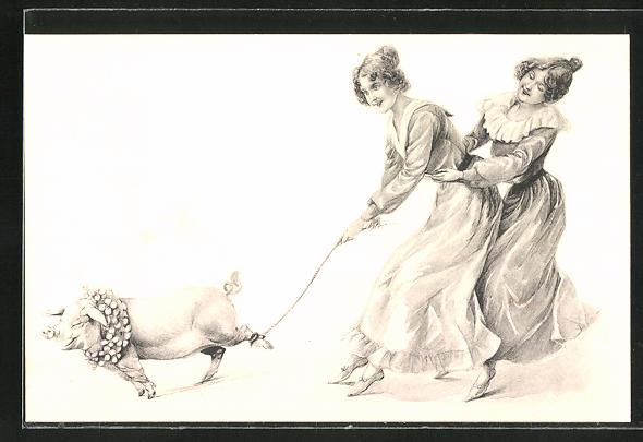 AK Zwei Frauen mit einem Schwein an der Leine