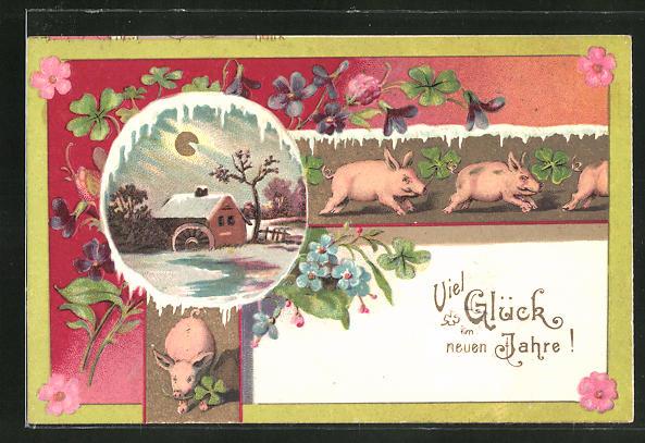 Präge-AK Neujahrsgruss, winterliche Mühle und Schweine mit Klee