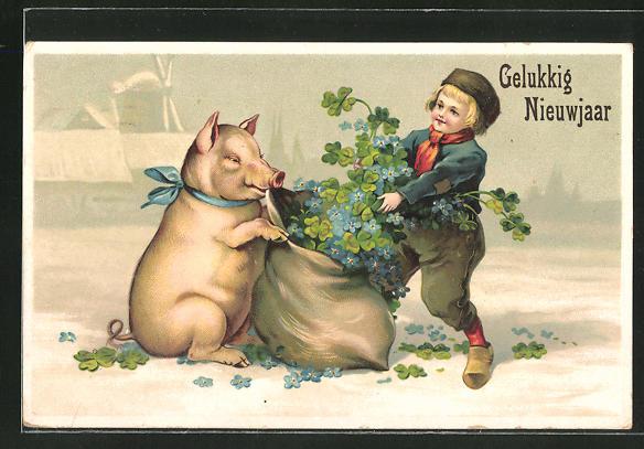 Präge-AK Neujahr, Schwein und Junge mit einem Sack Blumen