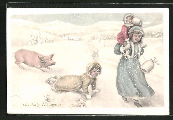 AK Neujahr, Kinder und ein Schwein in winterlicher Landschaft