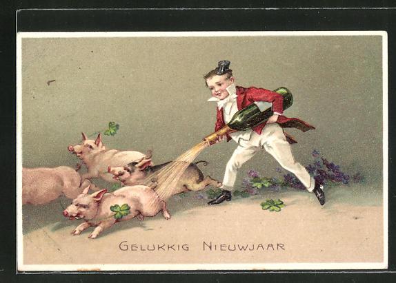 Präge-AK Junge vertreibt vier Schweine mit einer Flasche Sekt