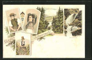 Lithographie Frauen in Schwarzwälder Tracht, Titisee mit Feldberg und Ravenaschlucht