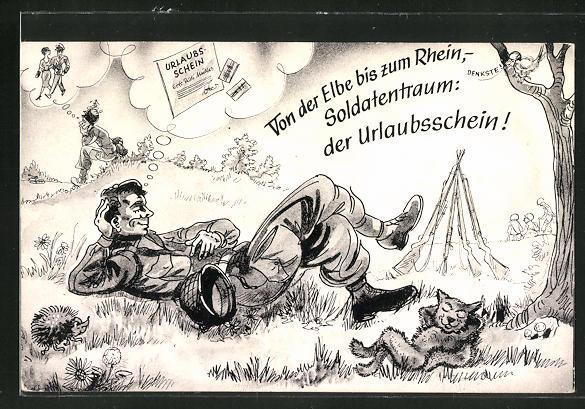 AK Soldat der Bundeswehr träumt von einem Urlaubsschein
