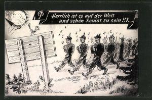AK Soldaten der Bundeswehr beim Marsch mit Gesang