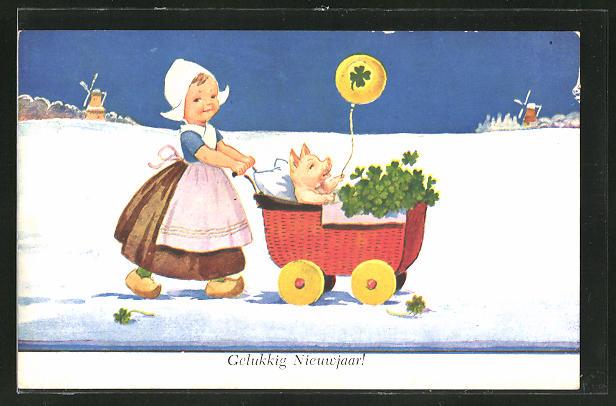 AK Mädchen in holländischer Tracht fährt ein Schwein mit Klee in einem Kinderwagen