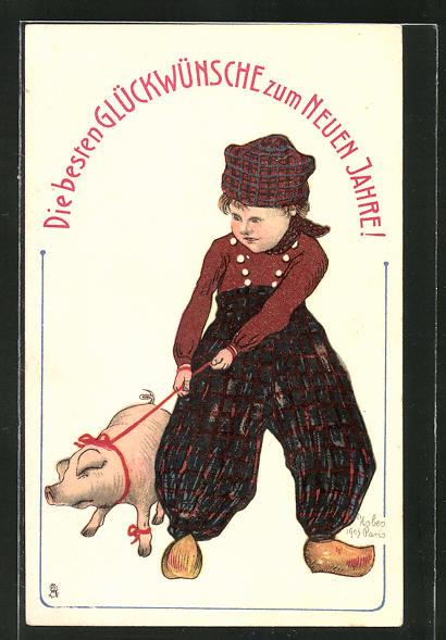 AK Neujahrsgruss, Junge mit Schwein an der Leine