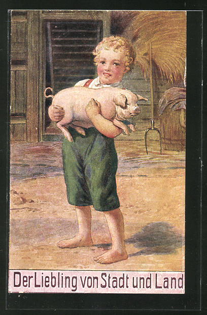 AK Junge mit einem Schwein auf dem Arm