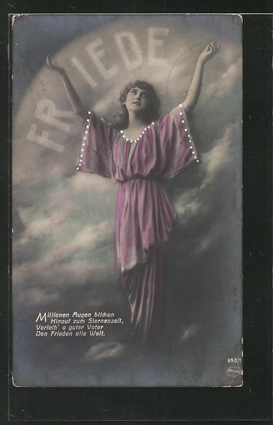 AK Junge Frau in den Himmel blickend, Friedensbewegung mit Spruch