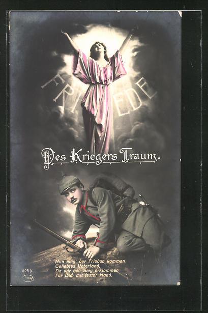 AK Des Kriegers Traum vom Frieden, Friedensbewegung mit Spruch