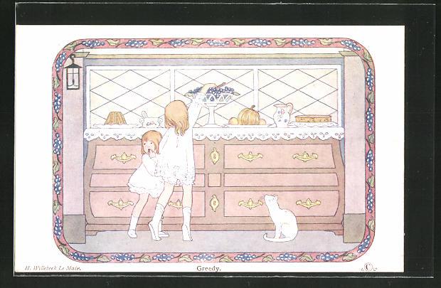 Künstler-AK Henriette Willebeek le Mair: Greedy, Katze beobachtet Kinder beim Mausen