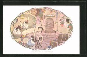 Künstler-AK Henriette Willebeek le Mair: Three mice went to a hole to spinn, Maus am Spinnrad