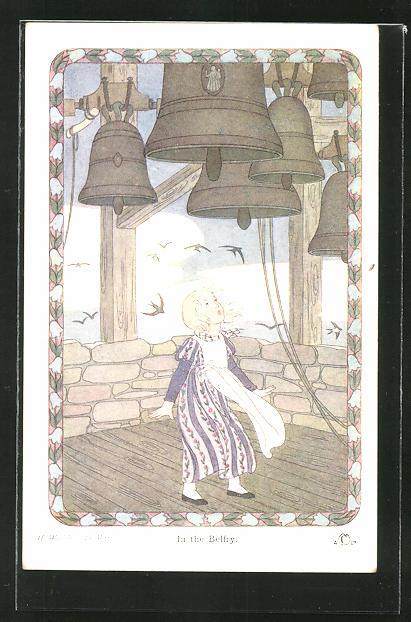Künstler-AK Henriette Willebeek le Mair: In the Belfry, Mädchen in Glockenturm