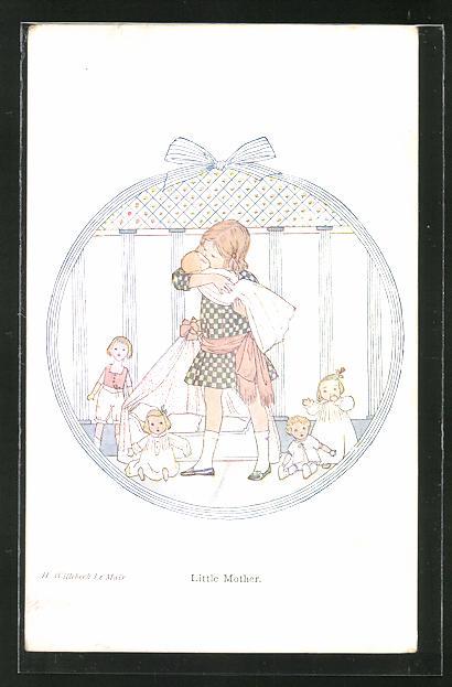 Künstler-AK Henriette Willebeek le Mair: Little Mother, Puppenmutter