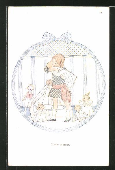 Künstler-AK Henriette Willebeek le Mair: Little Mother, Mädchen mit Puppen