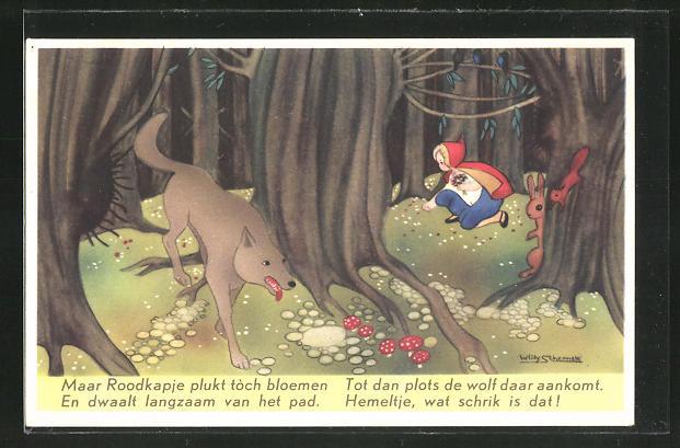 Künstler-AK Willy Schermele: Rotkäppchen im Wald vom Wolf verfolgt