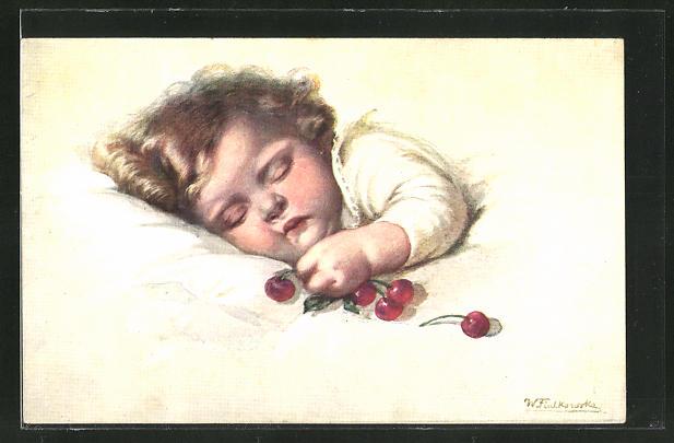 Künstler-AK Rie Cramer: Kirschen neben einem schlafenden Kleinkind im Bett