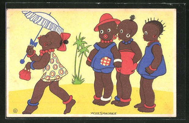 Künstler-AK Willy Schermele: drei afrikanische Kinder verfolgen arogantes Mädchen mit Blicken