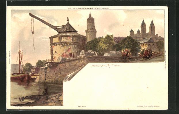 Künstler-AK Carl Biese: Andernach am Rhein, Totalansicht der Stadt