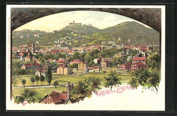 Künstler-AK Carl Biese: Eisenach, Ortsansicht mit der Wartburg