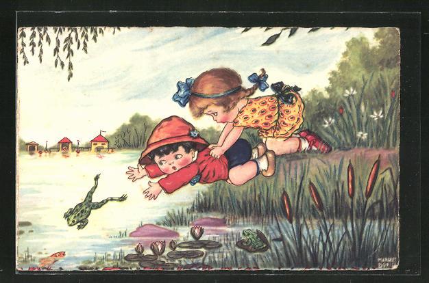 Künstler-AK Margret Boriss: Junge und Mädchen verfolgen einen Frosch in dem See