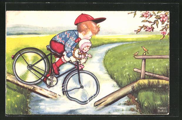 Künstler-AK Margret Boriss: Beim Versuch eines Jungen mit dem Fahrrad einen Bach zu überqueren, bricht der Steg
