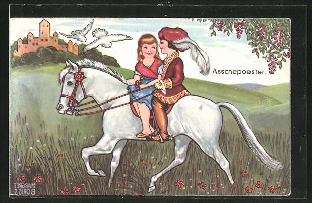 Künstler-AK Margret Boriss: Mädchen mit Jüngling zu Pferde