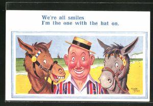 Künstler-AK Donald McGill: Mann mit zwei Pferden beim Lächeln