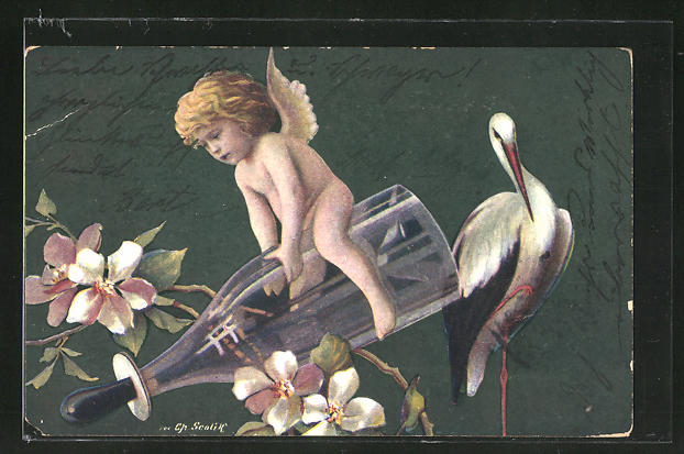 Künstler-AK Charles Scolik: Engelchen auf einer Trinkflasche mit Storch