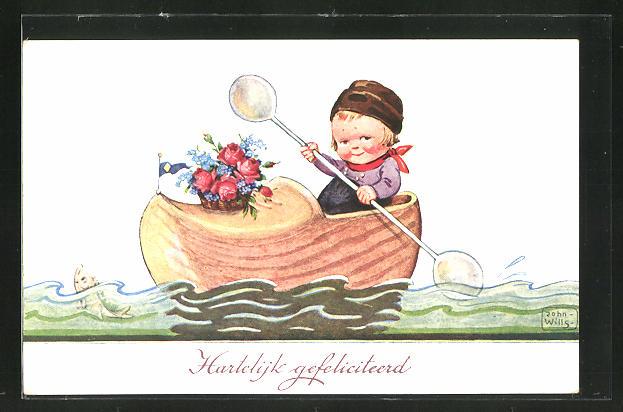 Künstler-AK John Wills: Kind mit Blumenkorb im Ruderboot