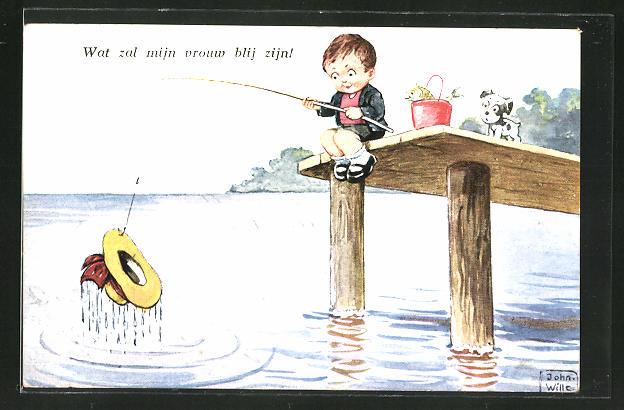Künstler-AK John Wills: Kleiner Junge angelt einen Hut aus dem Wasser