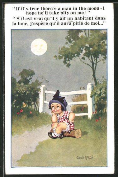 Künstler-AK Donald McGill: Kleinkind bei Mondschein auf einem Holz sitzrnd