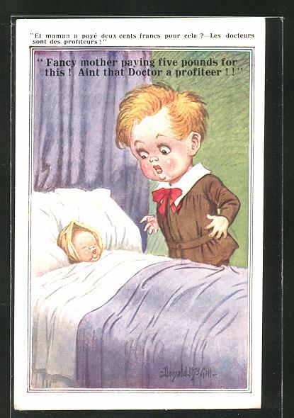 Künstler-AK Donald McGill: Kleiner Junge steht am Bett des kranken Babys