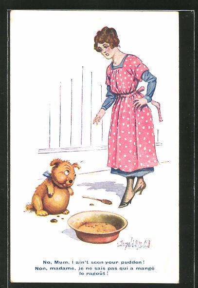 Künstler-AK Donald McGill: Junge Frau ermahnt ihren Hund zu Fressen