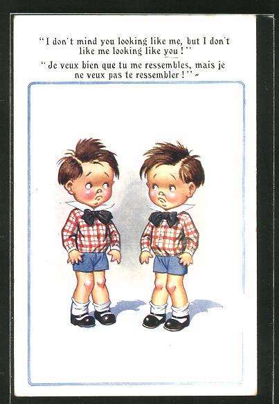 Künstler-AK Donald McGill: Zwei gleich gekleidete Jungen als Zwillinge