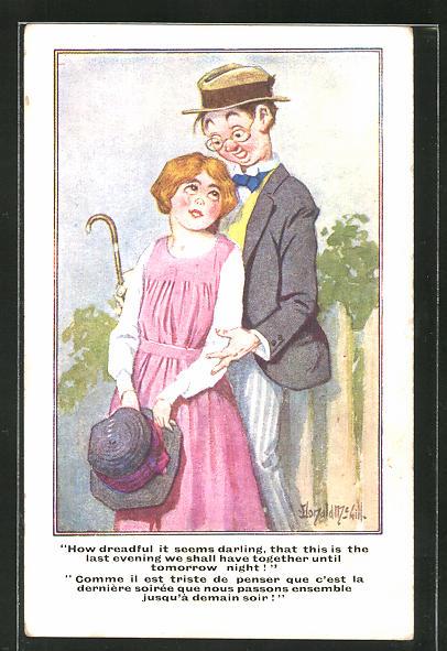 Künstler-AK Donald McGill: ein verliebtes junges Paar am Gartenzaun