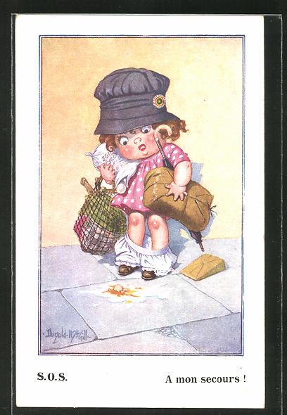 Künstler-AK Donald McGill: Kleines Mädchen mt viel Gepäck verliert ihr Höschen
