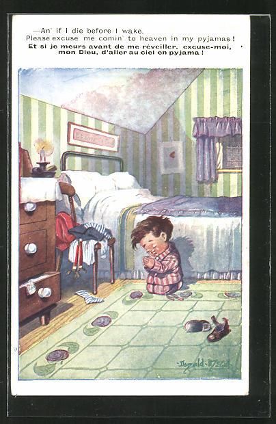 Künstler-AK Donald McGill: Kleiner Junge beim Abendgebet vor dem Bett