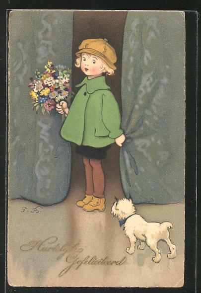 Künstler-AK Fritz Baumgarten: Kleines Mädchen mit Blumenstrauss und Hund