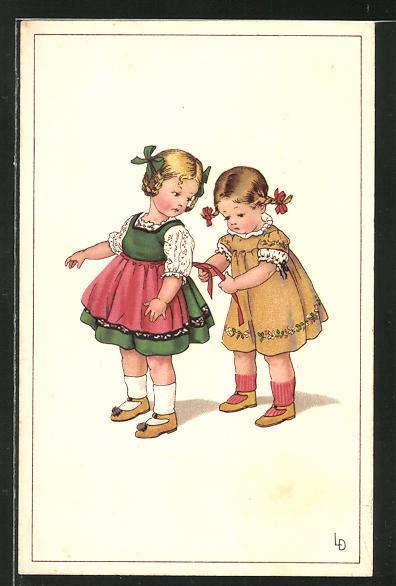 Künstler-AK Lia Döring: Zwei kleine Mädchen in toller Kleidung