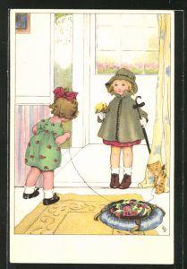 Künstler-AK Lia Döring: Kleines Mädchen begrüsst Mädchen mit Blumenstrauss an der Tür