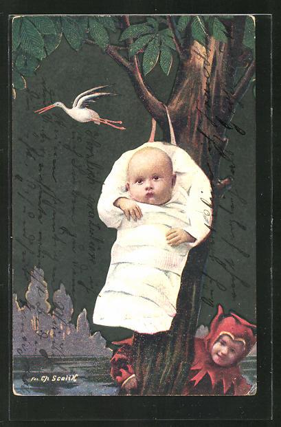 Künstler-AK Charles Scolik: Baby gewickelt an einem Baum hängend