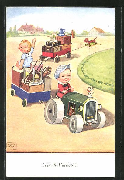 Künstler-AK John Wills: Kinder beim Umzug mit einem Traktor und Hänger