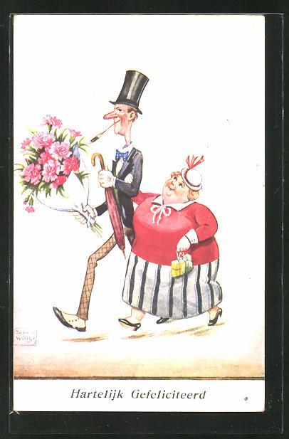Künstler-AK John Wills: Grosser schlanker Mann mit kleiner dicker Frau und Blumenstrauss