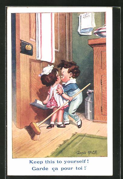 Künstler-AK Donald McGill: kleiner Junge küsst Mädchen mit Besen